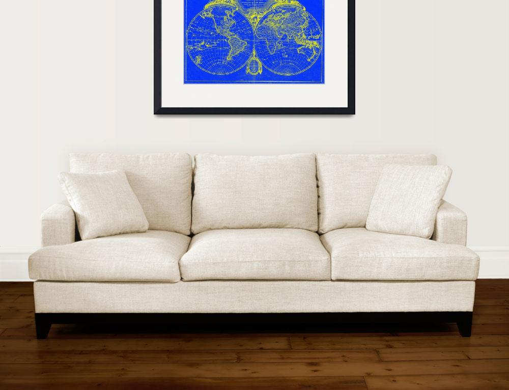 """""""World Map (1775) Blue & Yellow&quot  by Alleycatshirts"""