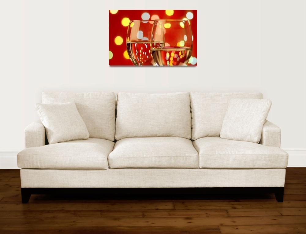 """Wine Glass with Christmas lights""  (2009) by akhilesh"