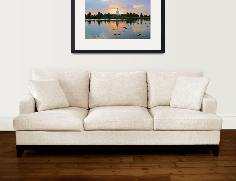 """""""20x30 Morning Swim Idaho Falls Temple&quot  (2008) by lightvoyages"""