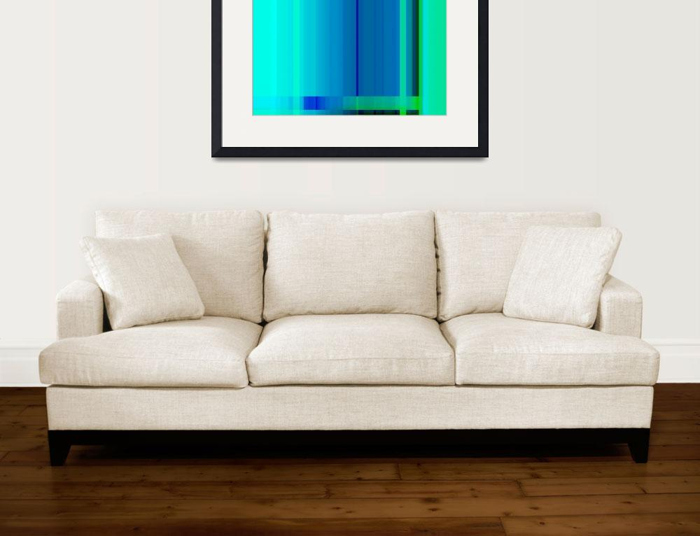 """Blue Turquoise Green Lines Abstract""  (2012) by NatalieKinnear"