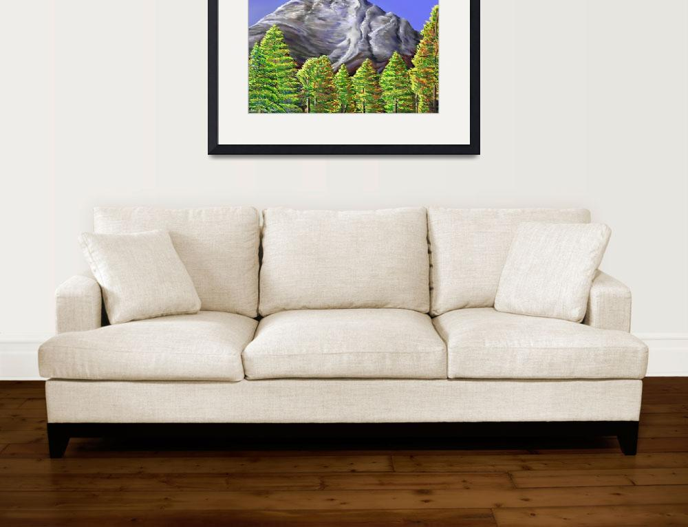 """""""Mountain and Trees&quot  (2008) by stephenthedigitalartist"""