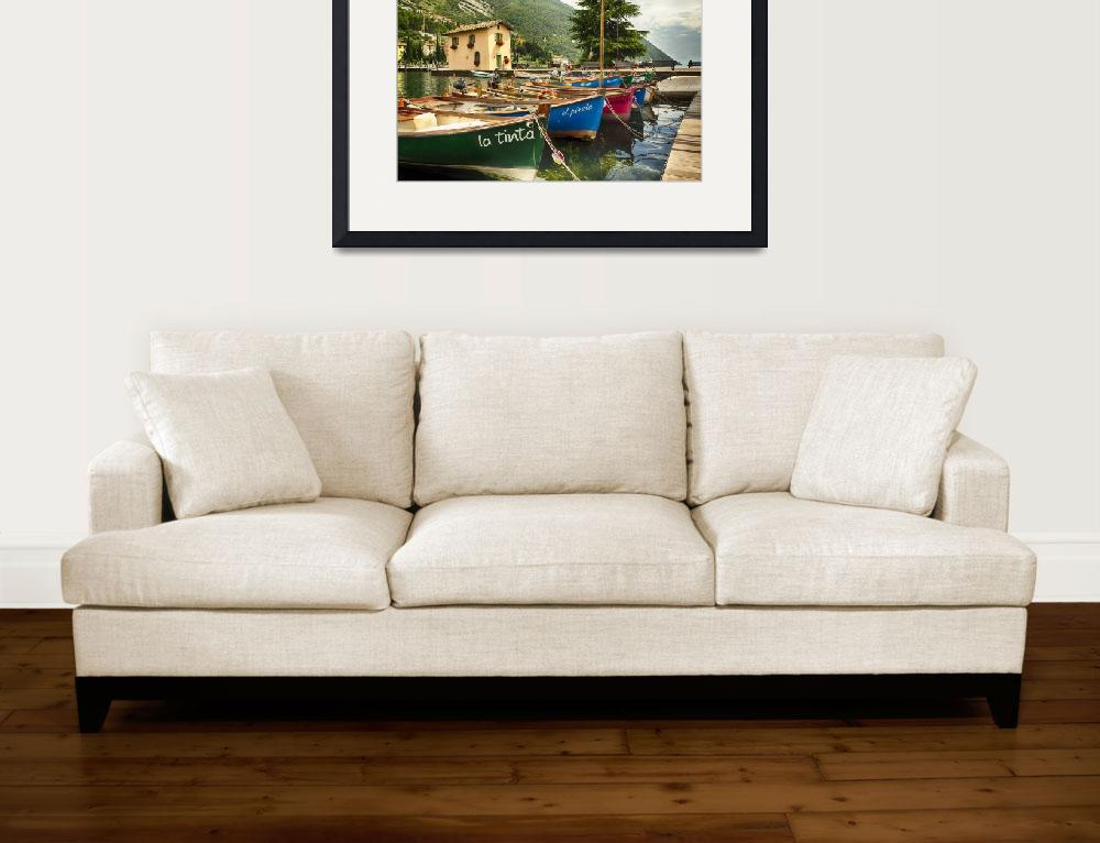 """""""Small Boats In A Harbor At Lake Garda&quot  (2014) by George_Oze"""