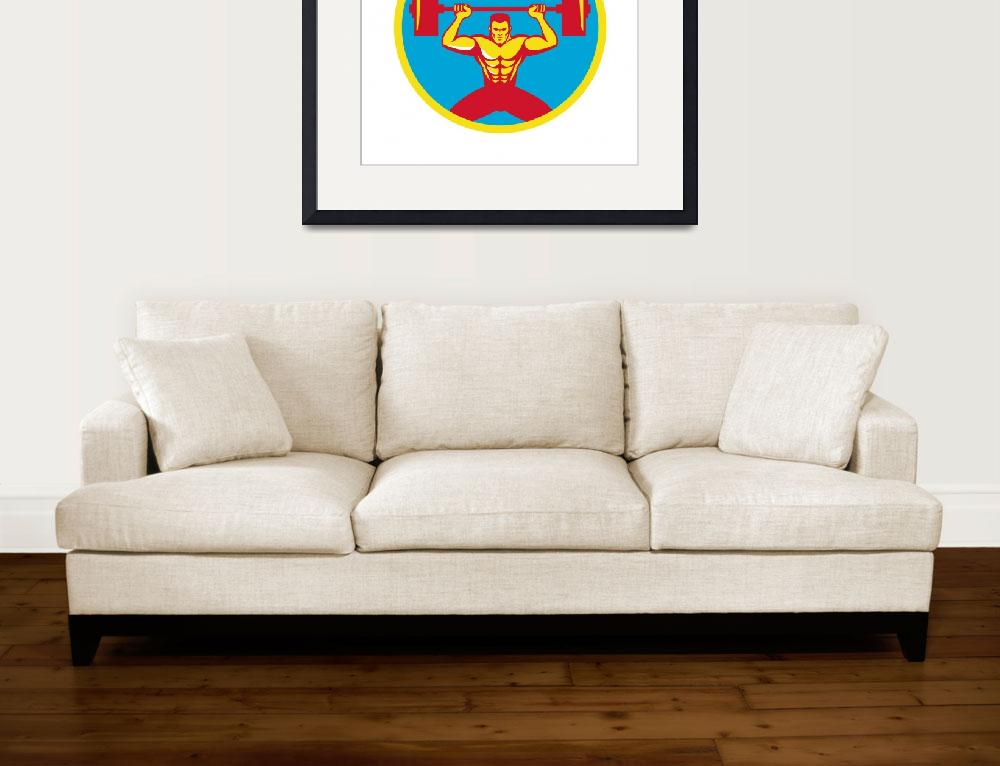 """""""Weightlifter Lifting Weights Front Circle Retro&quot  (2015) by patrimonio"""