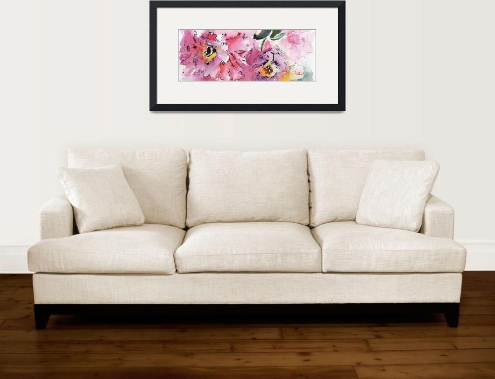 """Modern Floral Landscape Pink Camellia&quot  (2016) by GinetteCallaway"