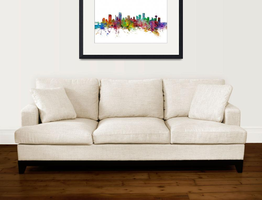 """Vancouver Canada Skyline&quot  (2014) by ModernArtPrints"