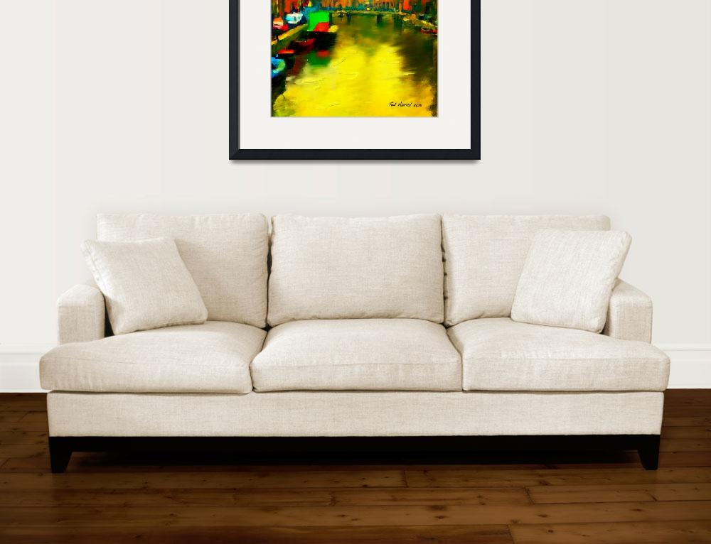 """""""Amsterdam Canal, Digital oil painting&quot  (2011) by tedazrielgraphicart"""