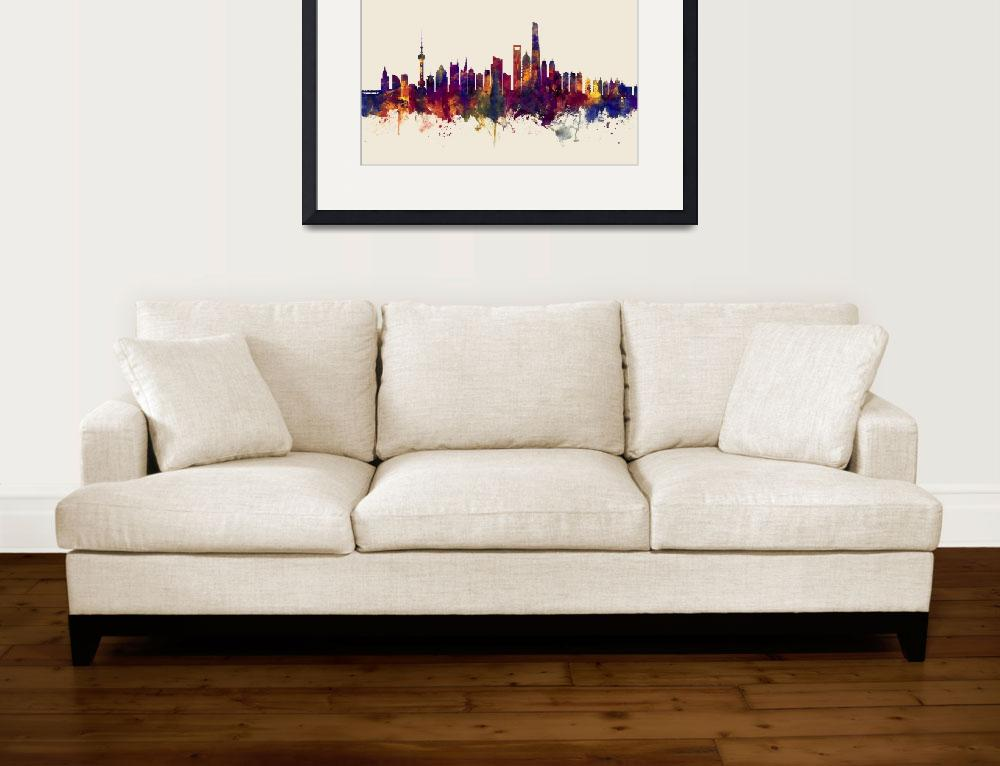 """Shanghai China Skyline""  (2017) by ModernArtPrints"