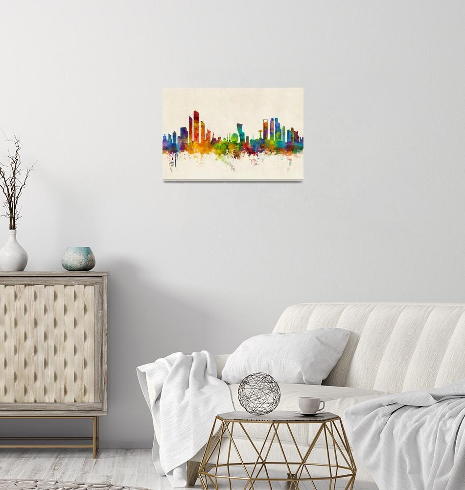 """Abu Dhabi Skyline""  (2016) by ModernArtPrints"