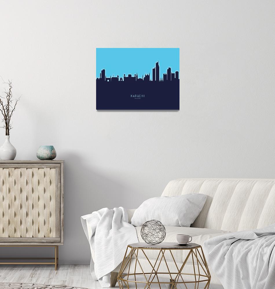 """Karachi Pakistan Skyline""  (2020) by ModernArtPrints"