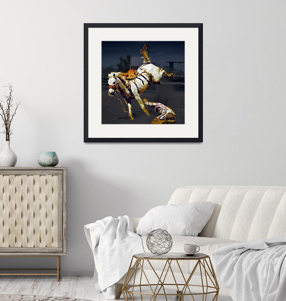 """""""White Bucking Bronco and Cowboy at Rodeo""""  (2019) by ElainePlesser"""