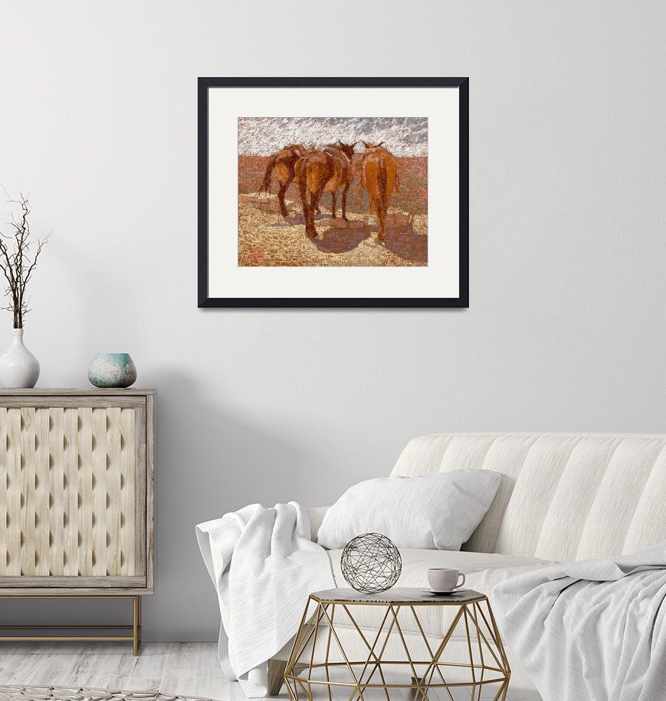 """""""Three Mules on a Canyon Trail 11x14s""""  (2007) by Suziepastels"""