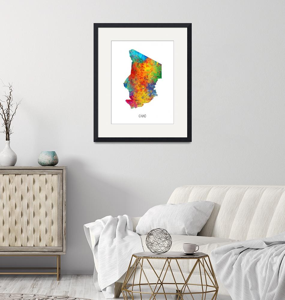 """Chad Watercolor Map""  (2019) by ModernArtPrints"
