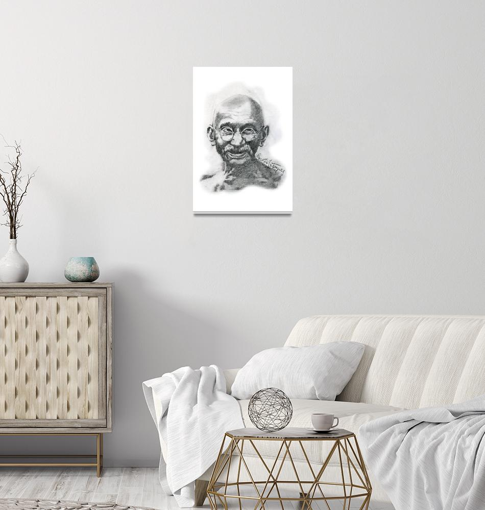 """Hand Drawn Portrait of Mahatma Gandhi""  by CreativeArtisticNuance"