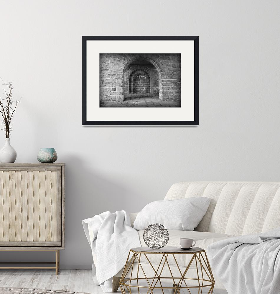 """""""Akerhus Arches with Vignette - Black and White""""  by Groecar"""