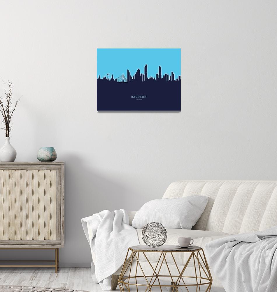 """Bangkok Thailand Skyline""  (2020) by ModernArtPrints"