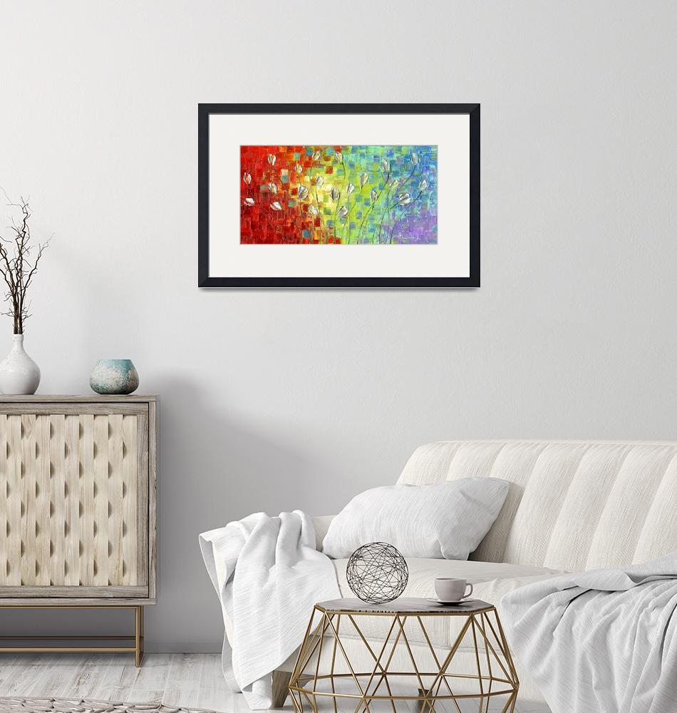 """""""Abstract Landscape Silver Tulips"""" by modernhouseart"""