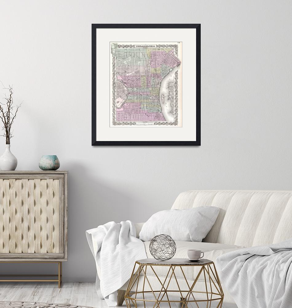 """""""Vintage Map of Philadelphia (1855)""""  by Alleycatshirts"""