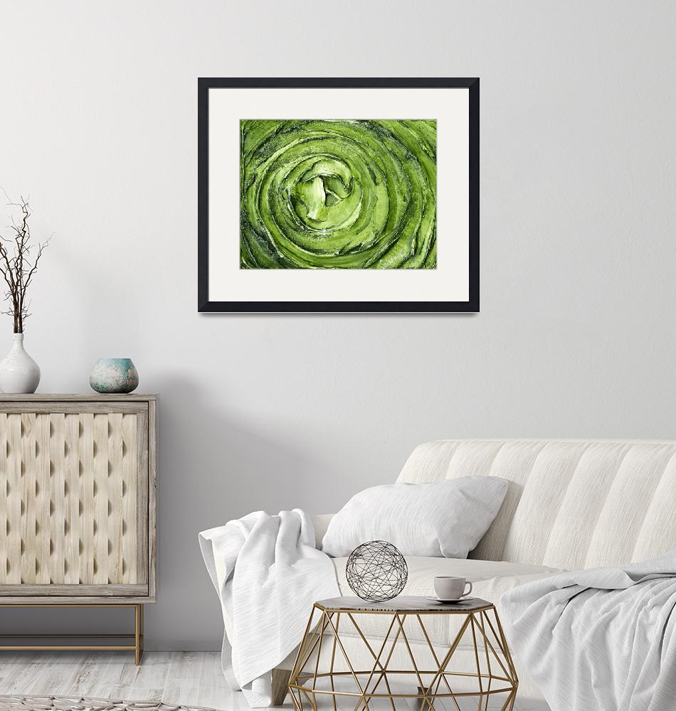 """Green Silver Abstract Art""  by modernhouseart"