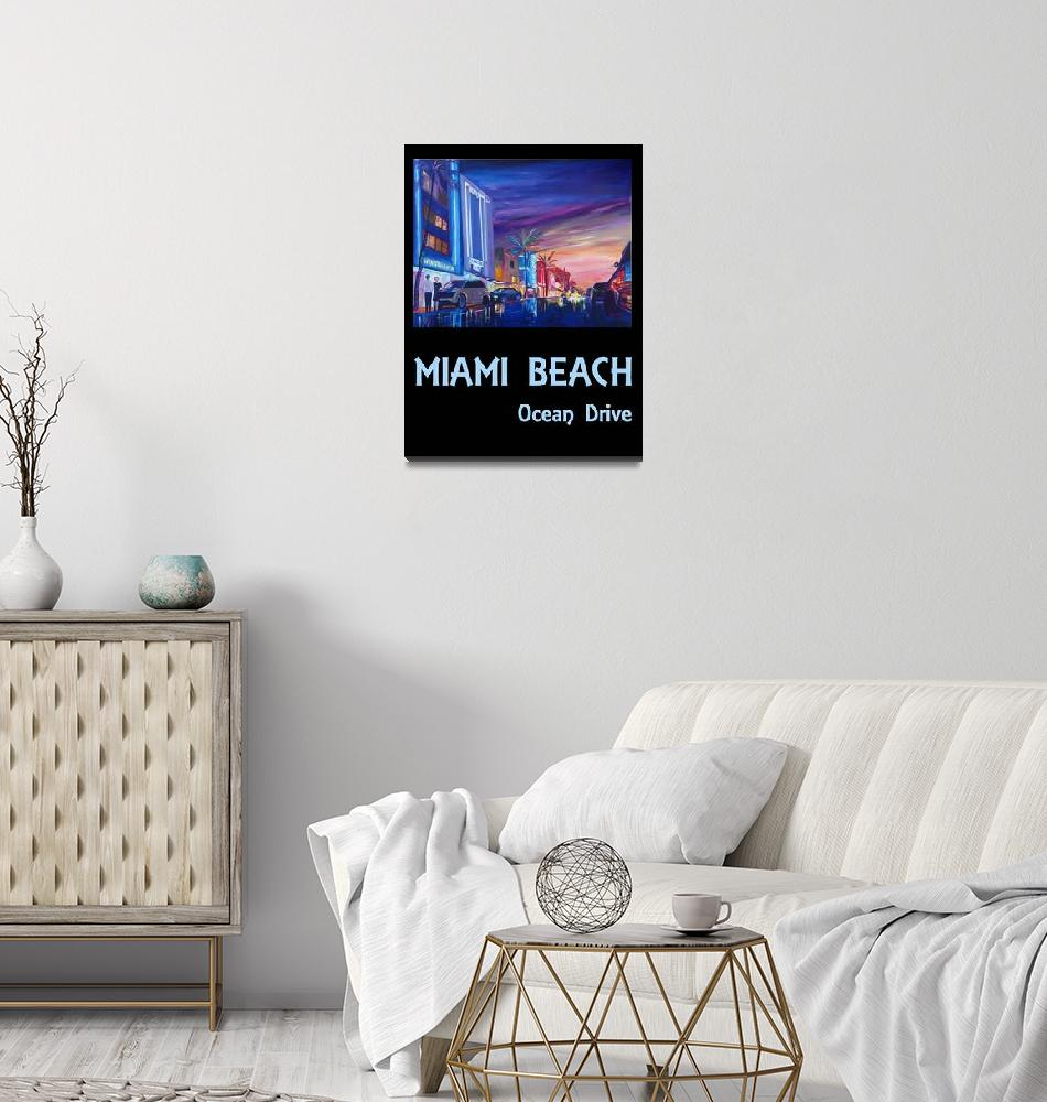 """Miami Beach Ocean Drive Retro Poster - South Beach""  (2020) by arthop77"