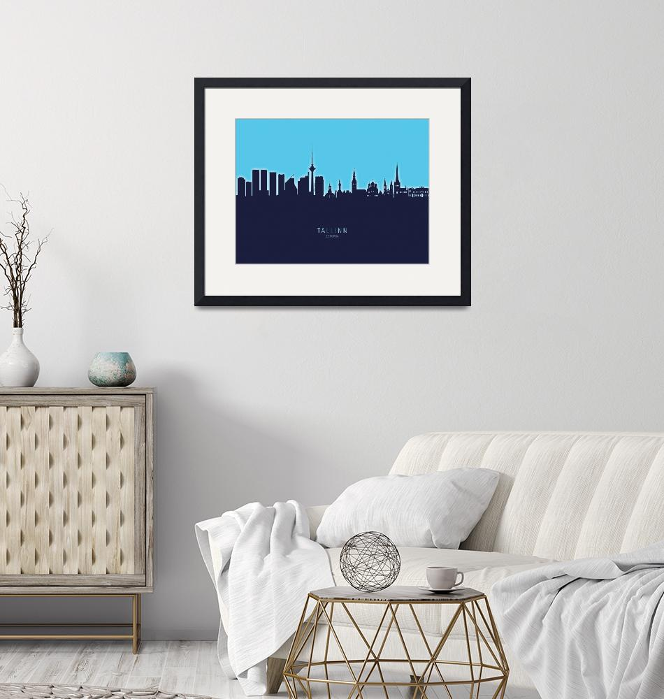 """Tallinn Estonia Skyline""  (2020) by ModernArtPrints"