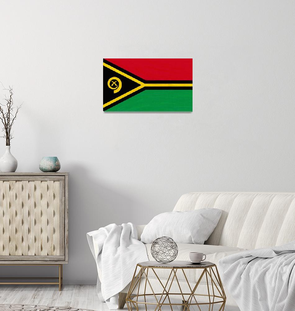 """""""Flag of Vanuatu ,  County Flag Painting ca 2020 by""""  by motionage"""