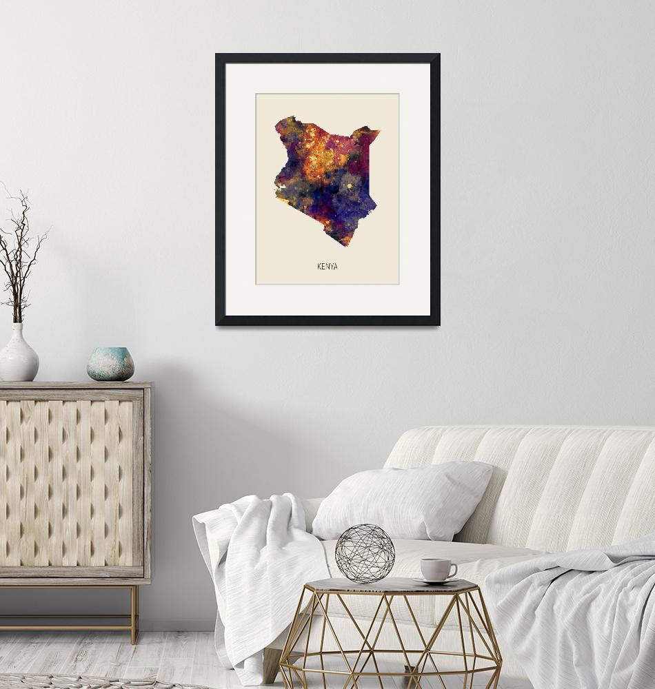 """Kenya Watercolor Map""  (2019) by ModernArtPrints"