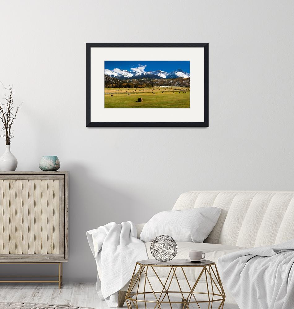"""""""Hayfield and The San Juan Mountains (Panorama)""""  by pbk"""
