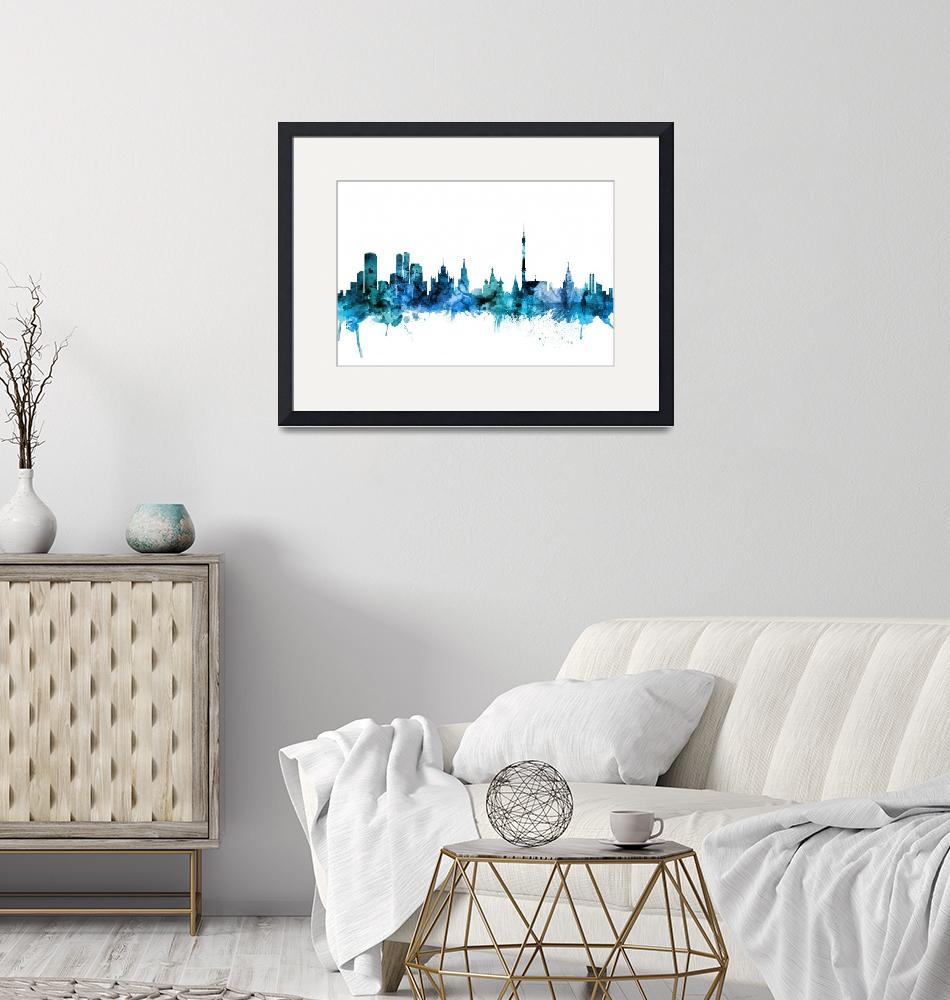 """Moscow Russia Skyline""  (2018) by ModernArtPrints"