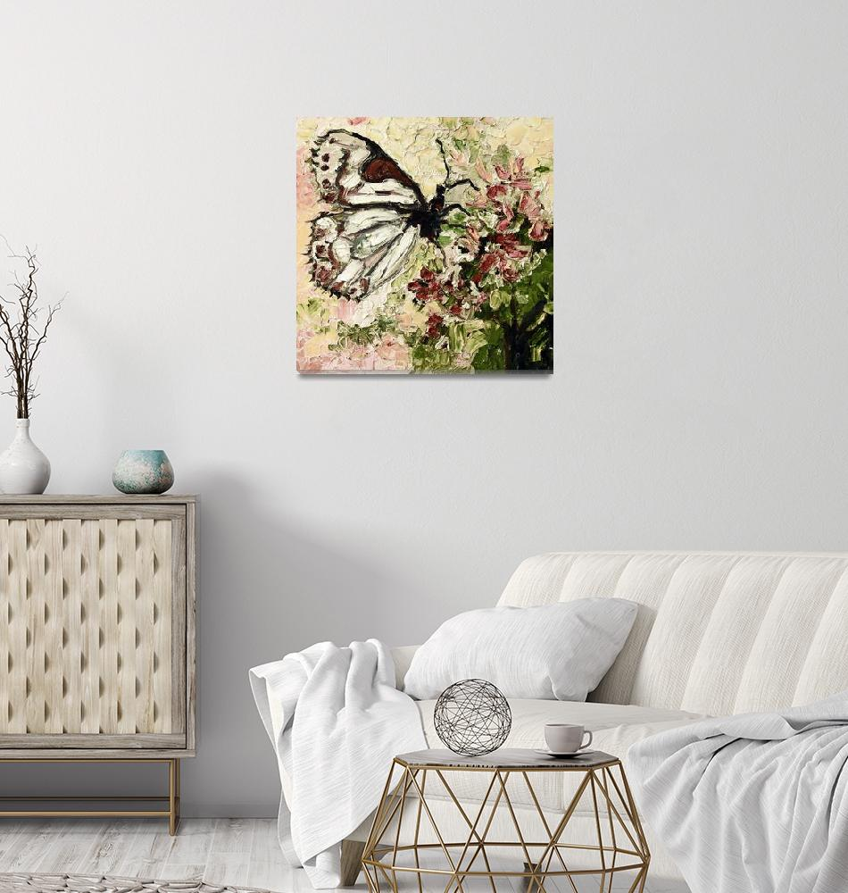 """""""White Butterfly on Flowers Vintage""""  (2015) by GinetteCallaway"""