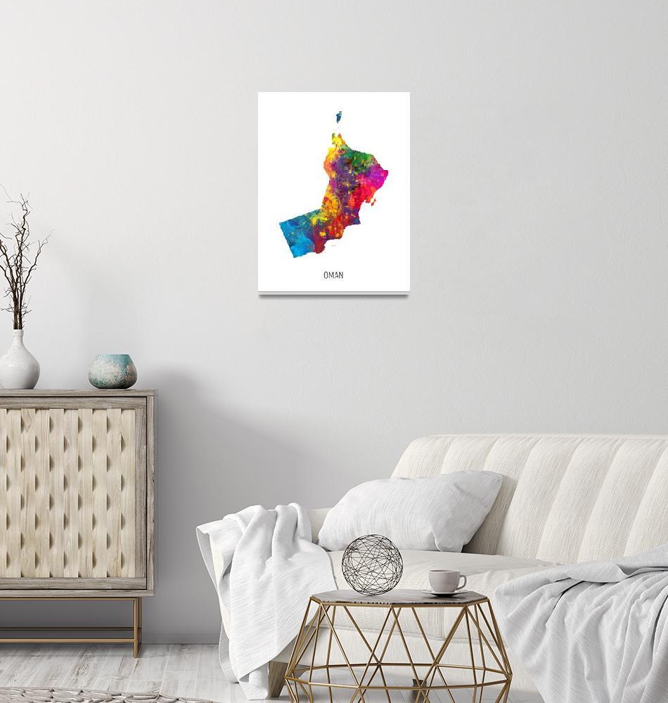 """Oman Watercolor Map""  (2019) by ModernArtPrints"