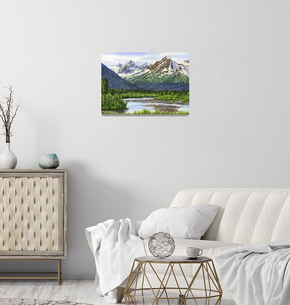 """Mountain Shadows Glacier Valley""  (2019) by Pacific-NW-Watercolors"