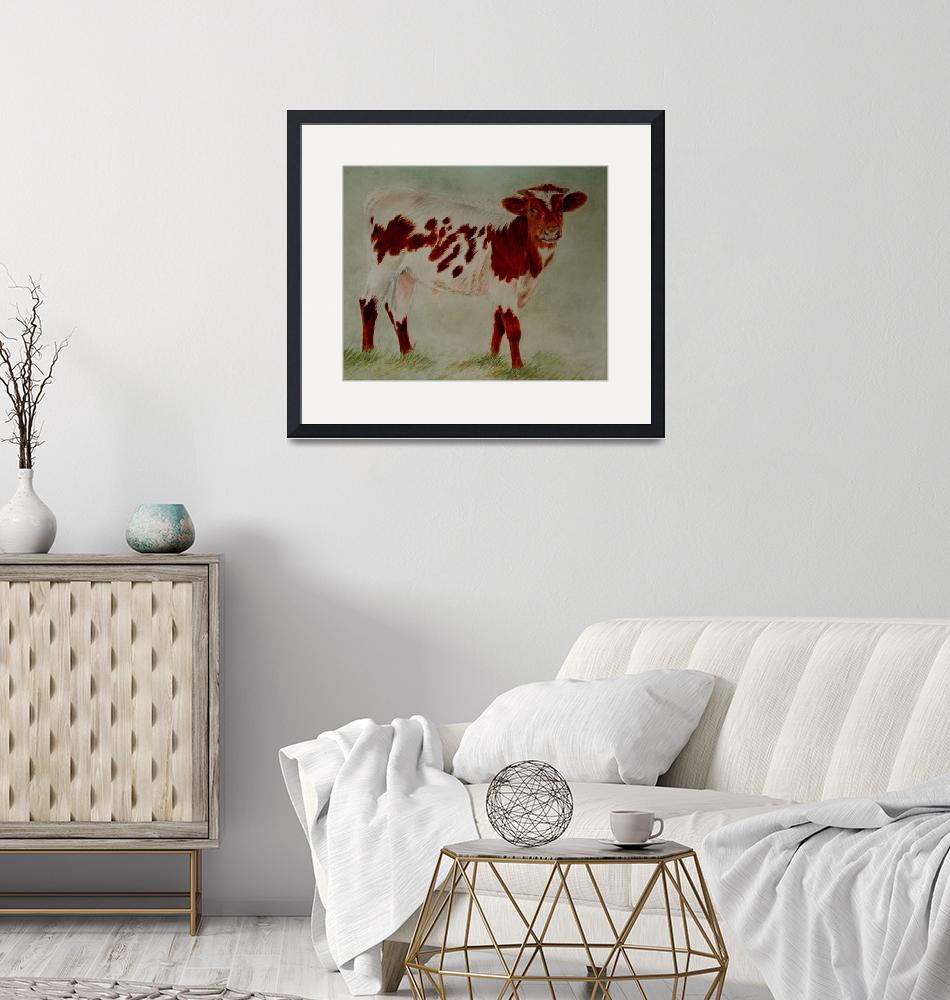 """""""Longhorn calf-watercolor painting""""  by Leicalady"""