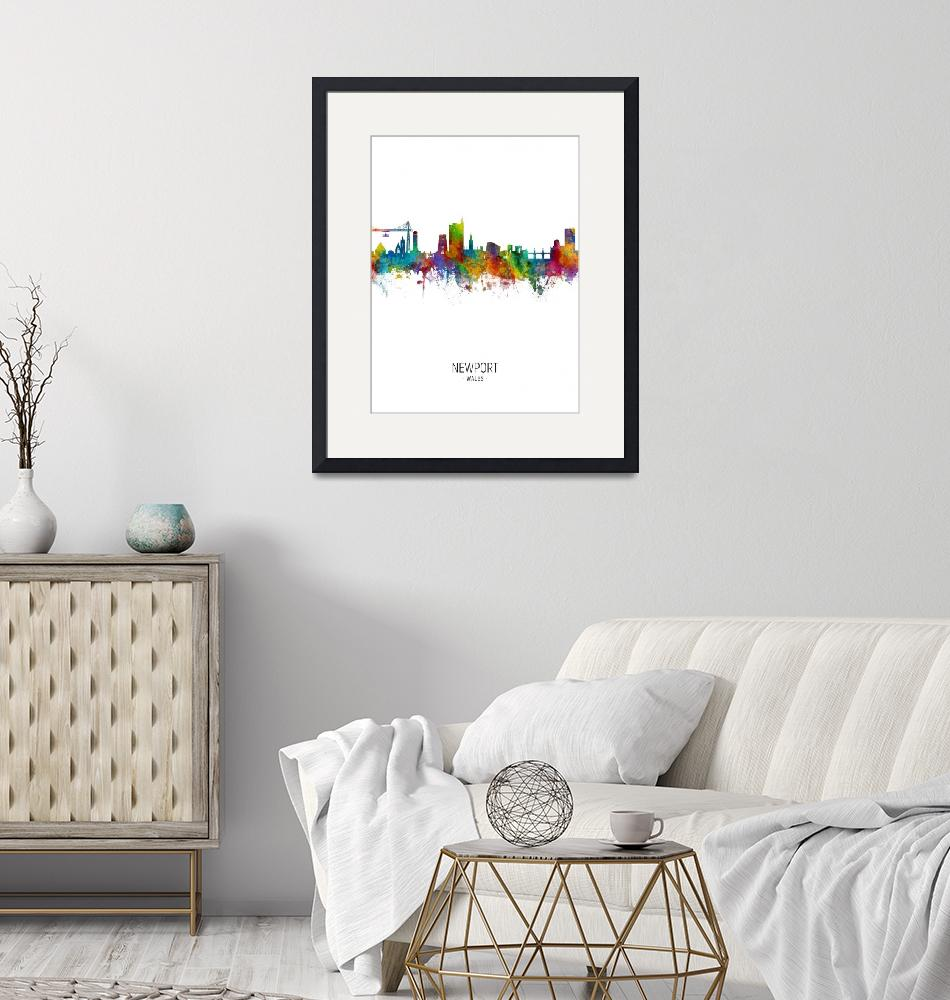 """Newport Wales Skyline""  (2018) by ModernArtPrints"