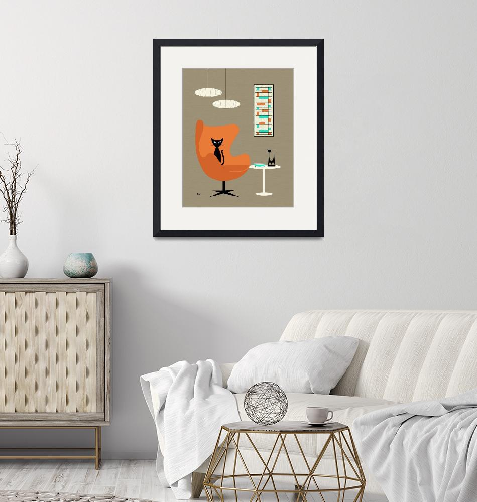 """""""Orange Egg Chair with Mini Abstract""""  (2014) by DMibus"""