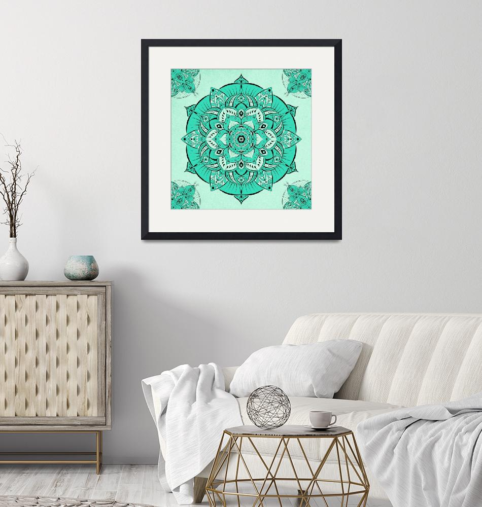 """Pretty Teal Mandala""  (2019) by ImageMonkey"