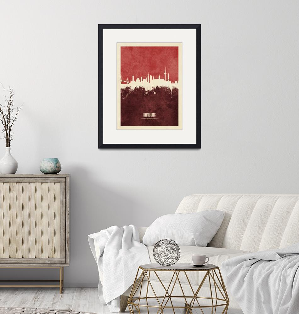 """Hamburg Germany Skyline""  (2018) by ModernArtPrints"