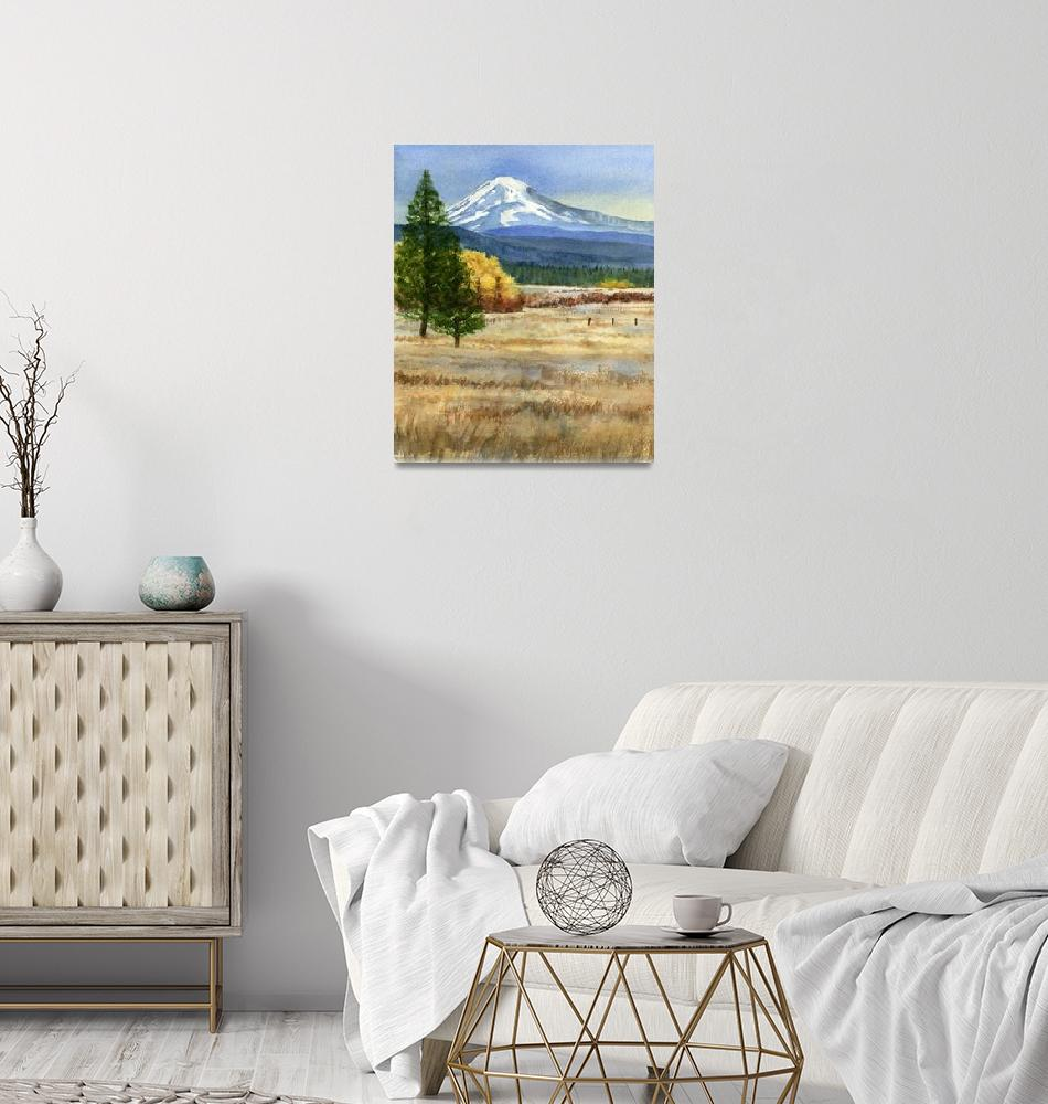 """""""Mt. Adams with Autumn Colors (vertical design)""""  (2013) by Pacific-NW-Watercolors"""