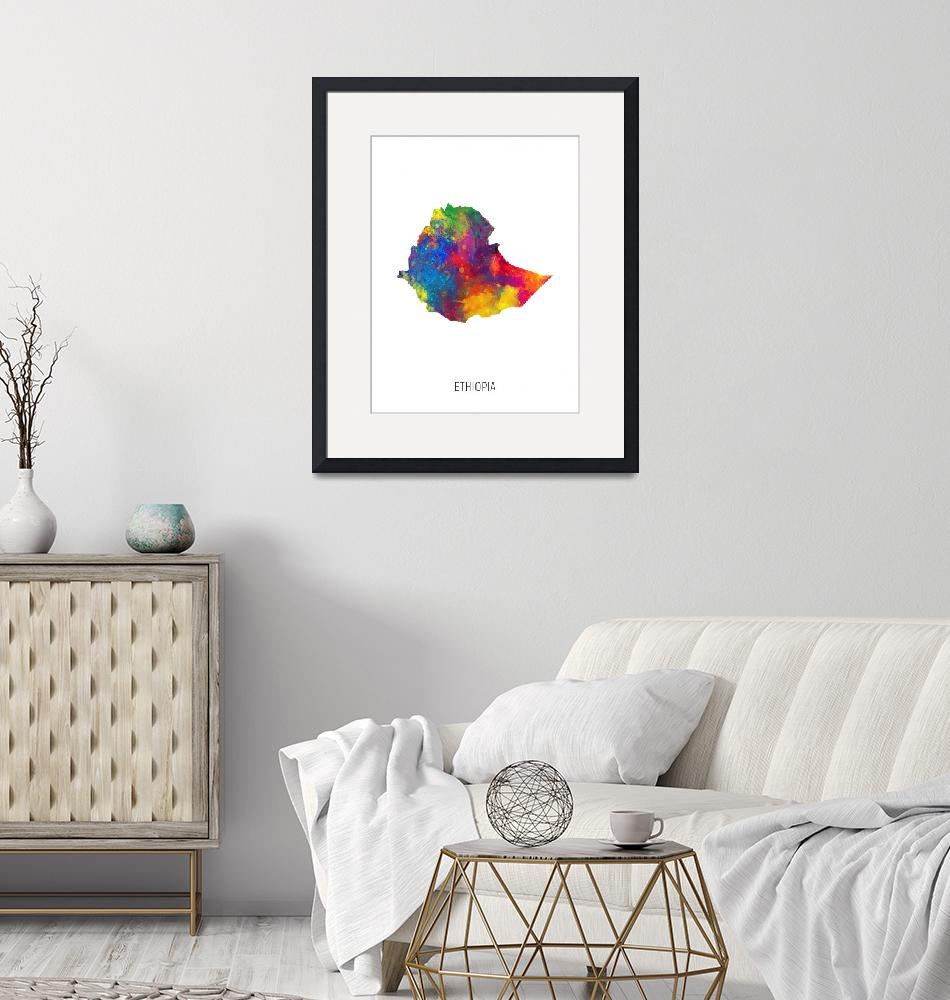 """Ethiopia Watercolor Map""  (2019) by ModernArtPrints"