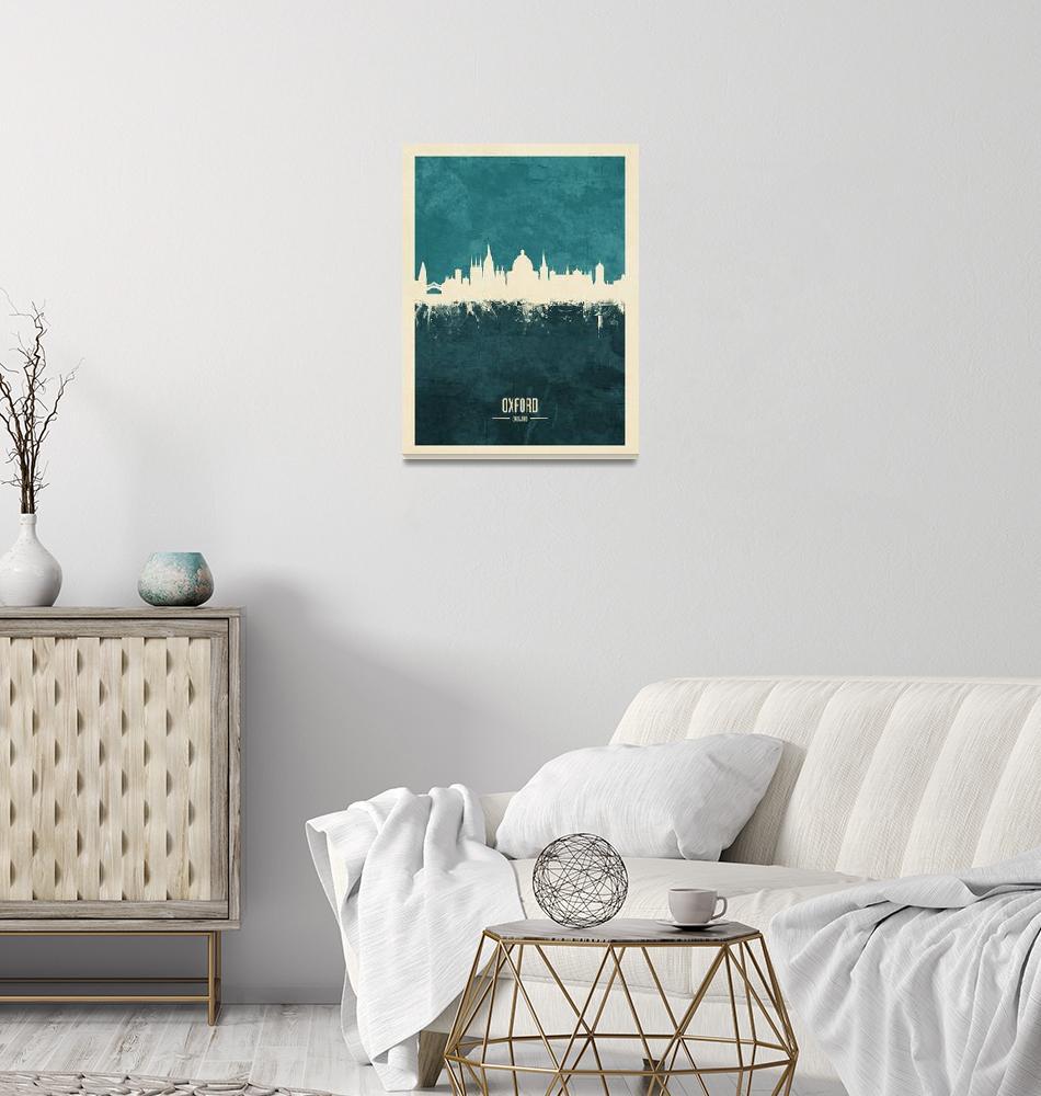 """Oxford England Skyline""  (2018) by ModernArtPrints"