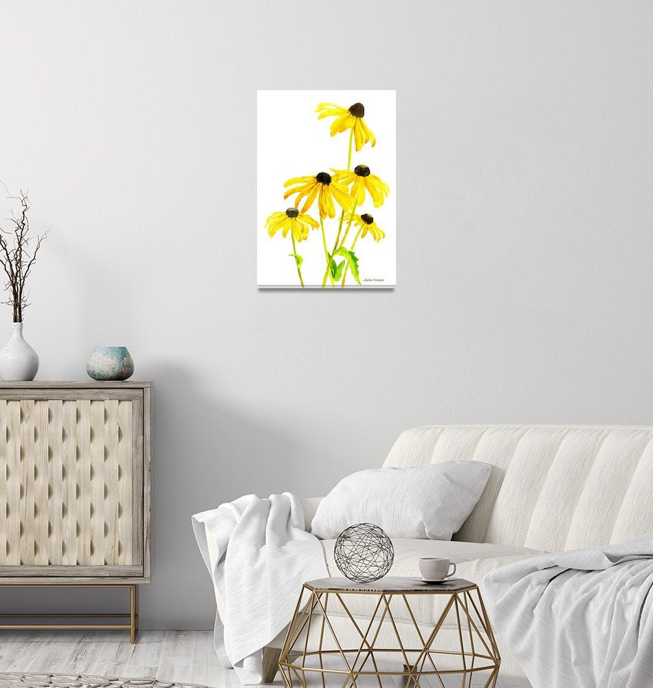 """""""Yellow Black Eyed Susans""""  (2015) by Pacific-NW-Watercolors"""