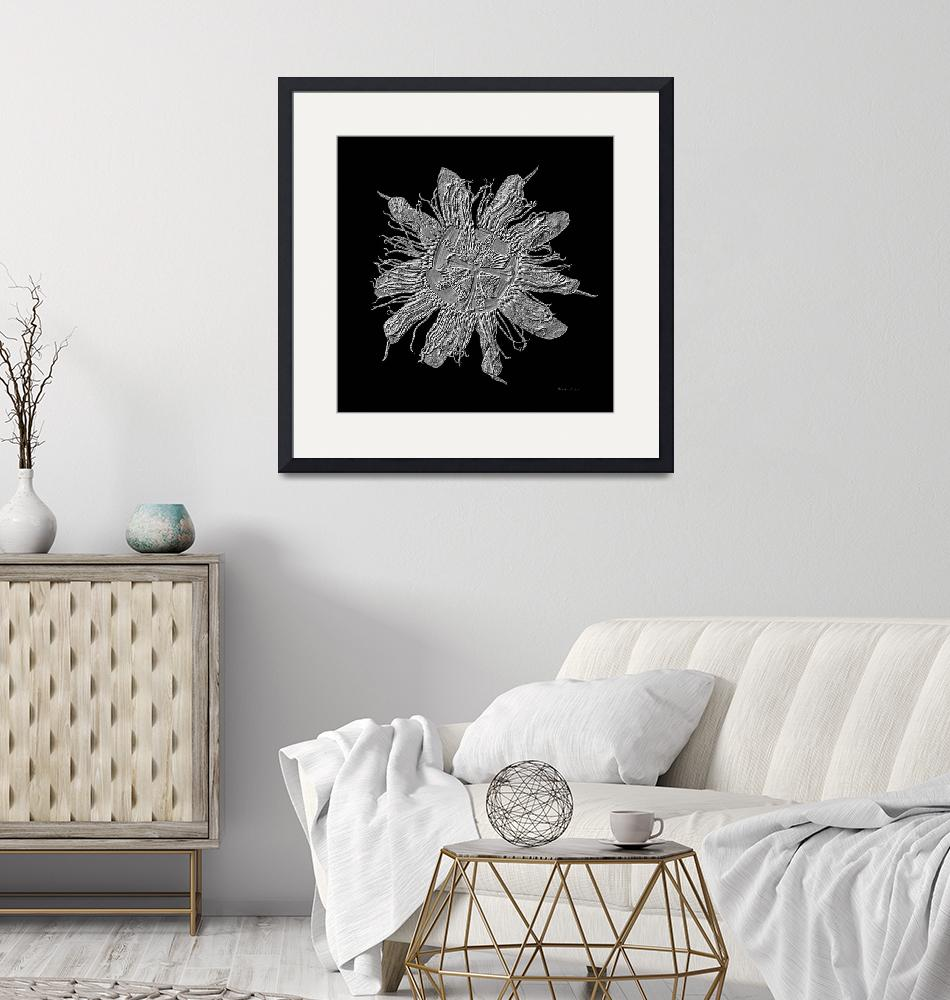 """""""Expressive Passion Flower in Black 50674K3""""  (2018) by Ricardos"""