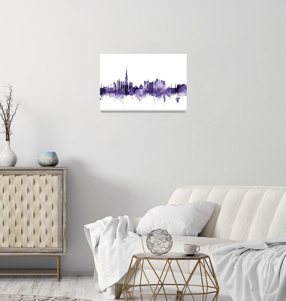 """Dubai Skyline""  (2018) by ModernArtPrints"