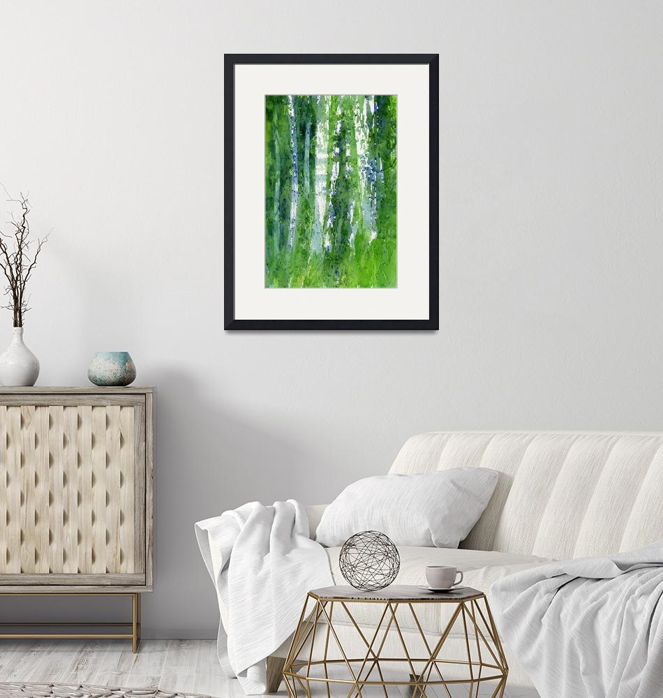 """Birch Trees Abstract Shapes""  (2015) by Pacific-NW-Watercolors"