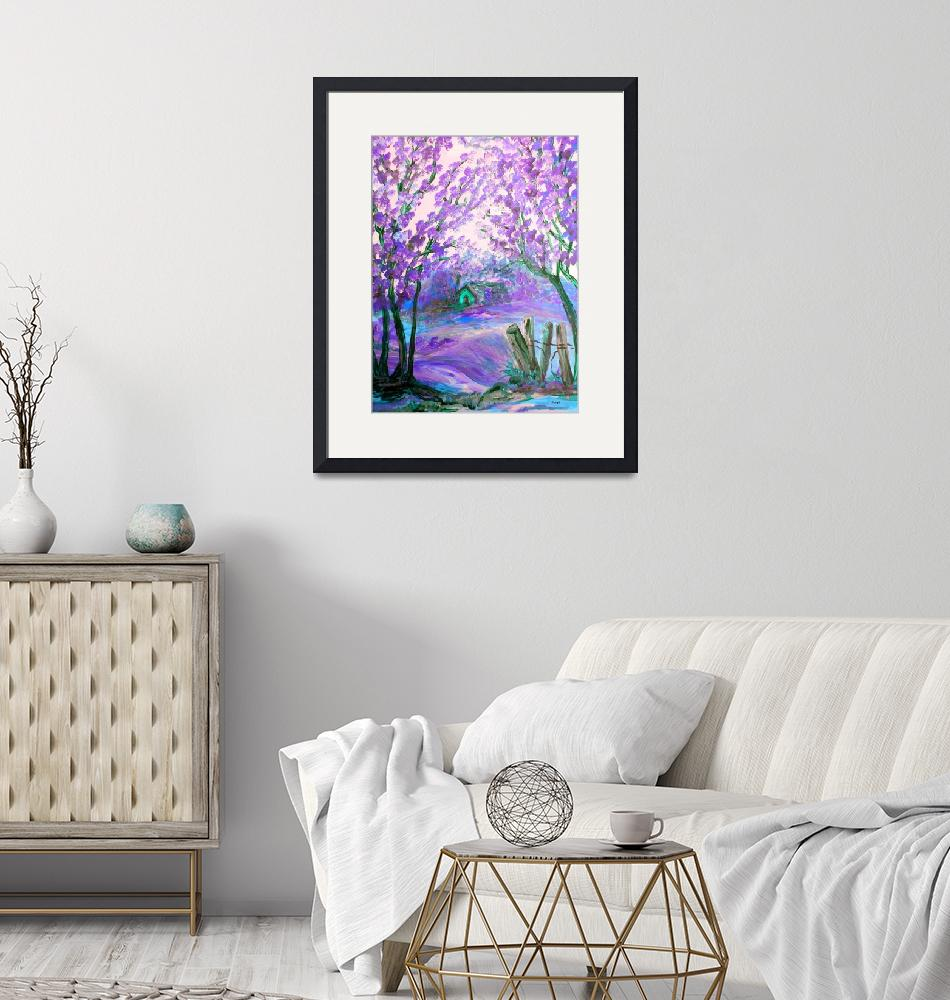 """""""Purple Abstract Landscape with Trees""""  by EloiseArt"""