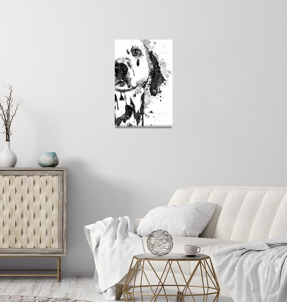 """Black And White Half Faced Dalmatian Dog"" (2019) by MarianVoicu"