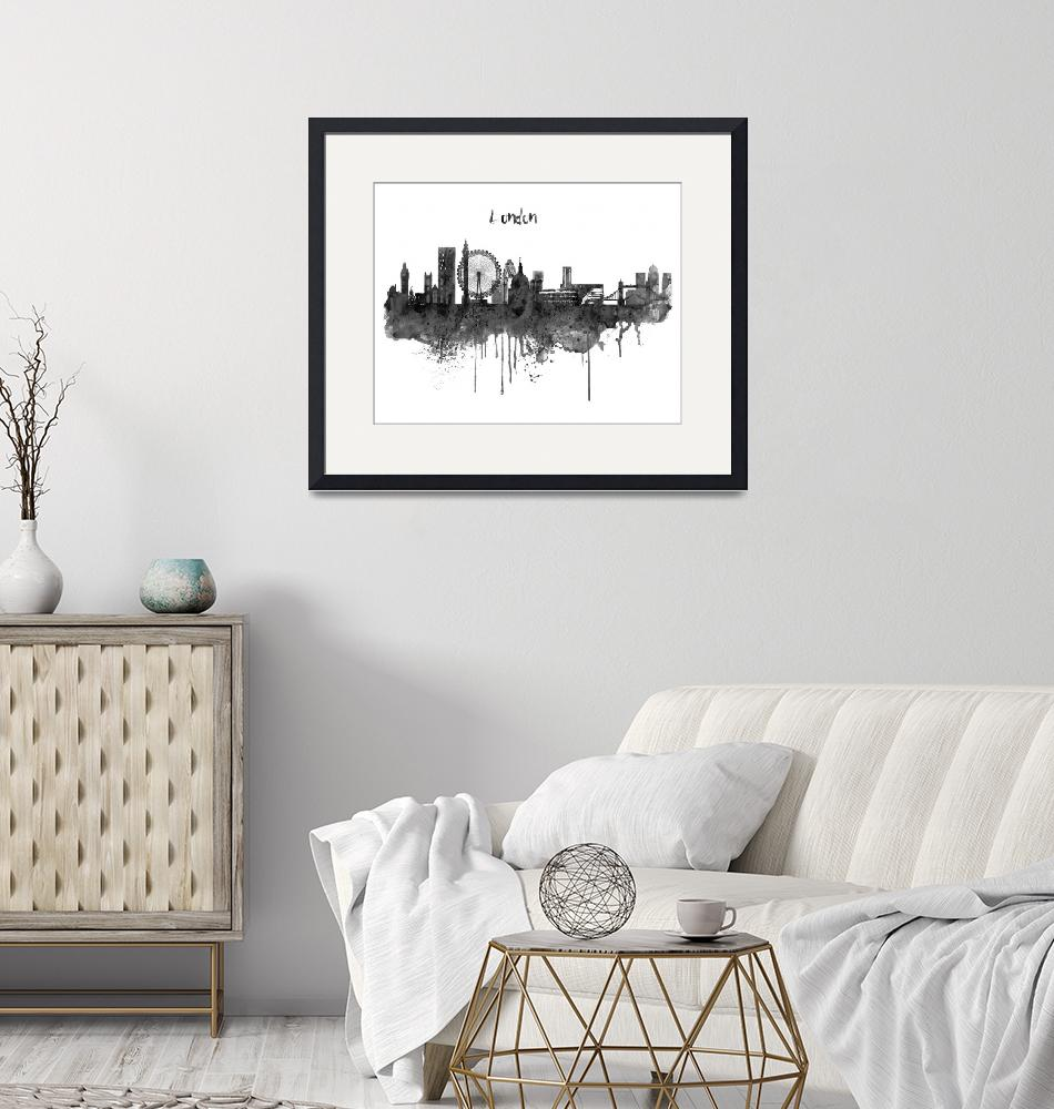 """London Black and White Skyline watercolor""  (2019) by MarianVoicu"