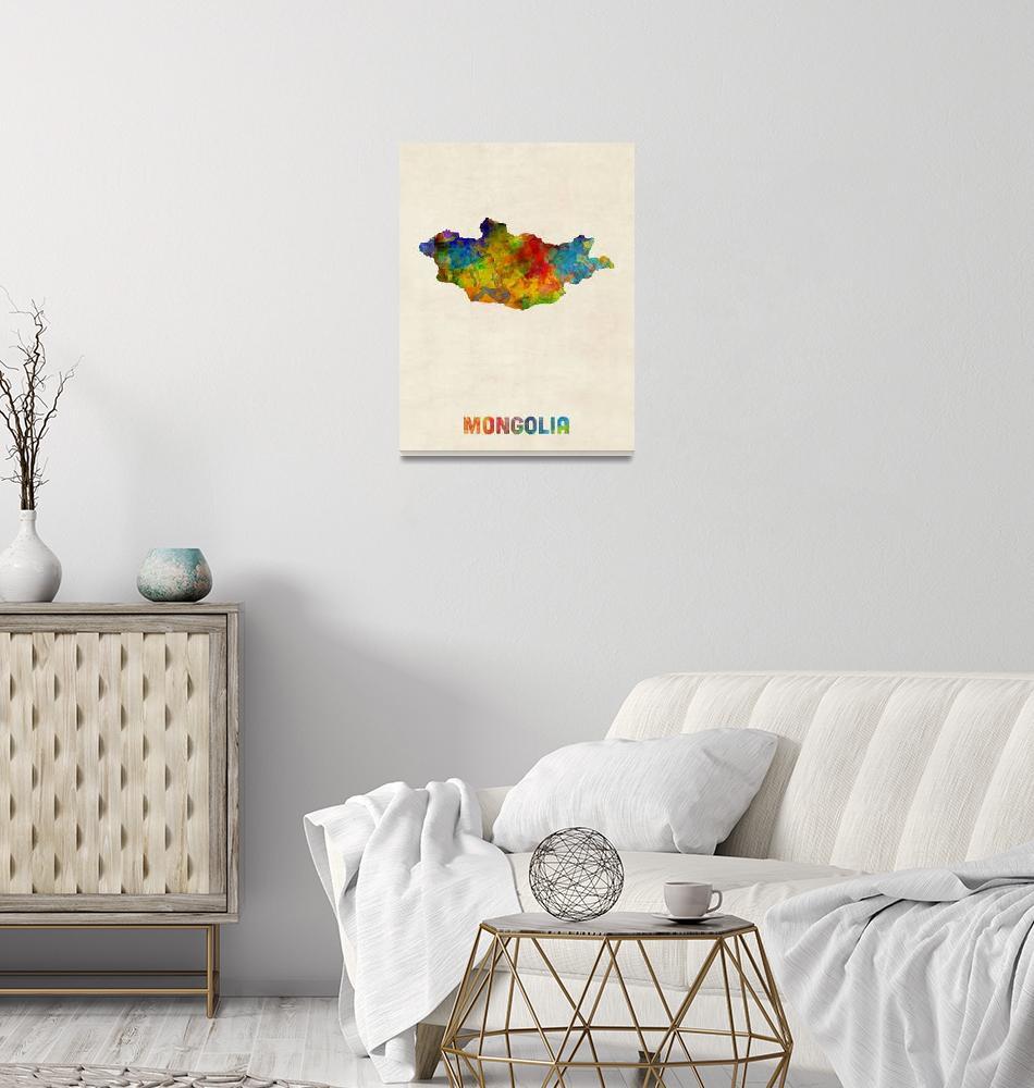 """Mongolia Watercolor Map""  (2017) by ModernArtPrints"