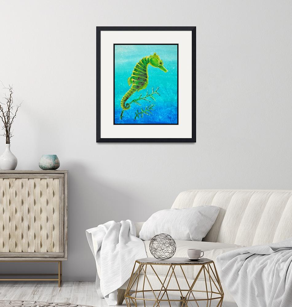 """""""Green Seahorse"""" (2014) by Littlepig"""