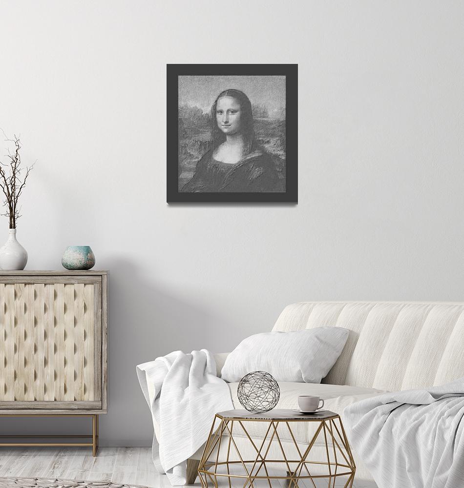 """Mona Lisa Cropped B&W medium border""  (2013) by TheNorthernTerritory"