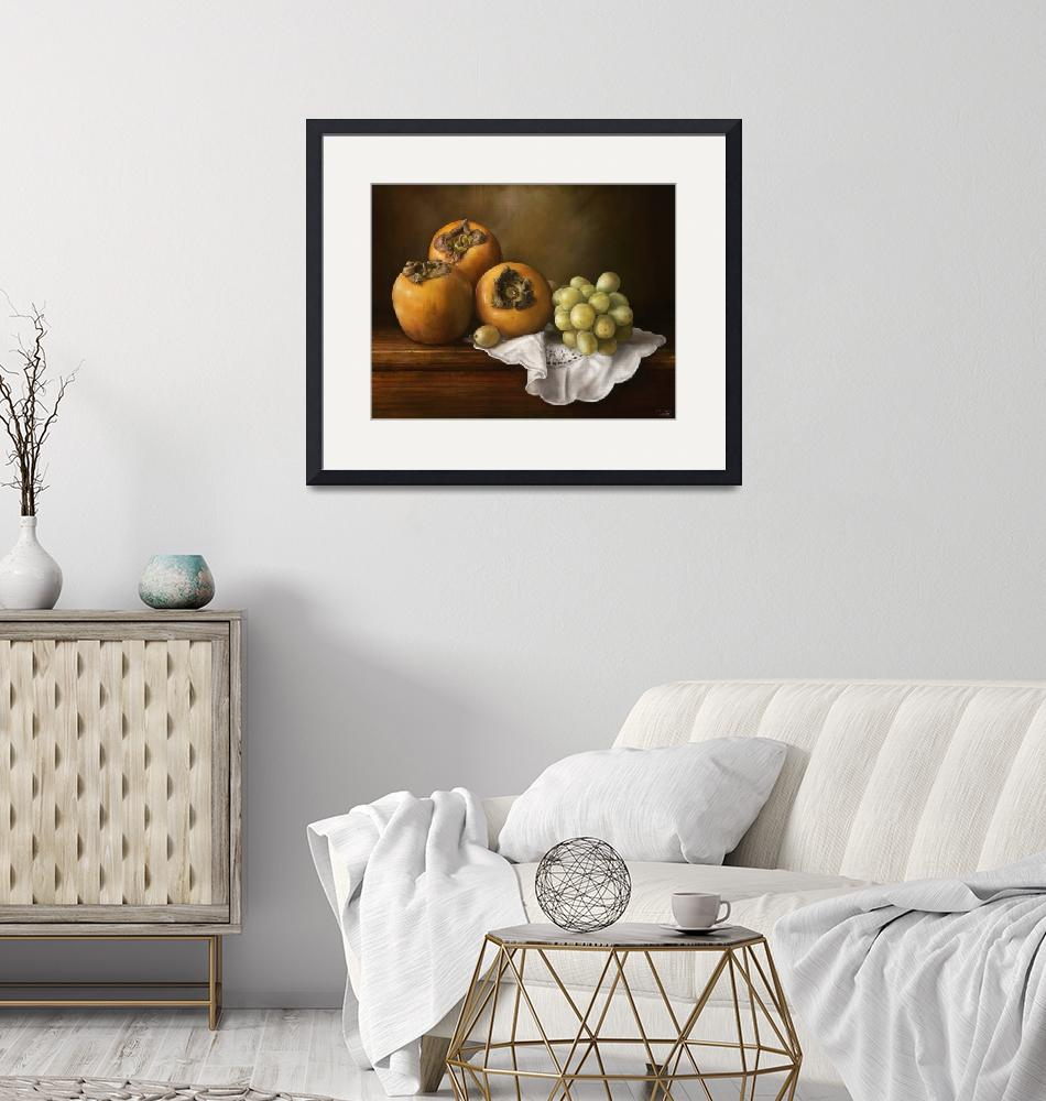 """""""Classic Still Life with Persimmons and Grape""""  (2012) by rustydoubleohseven"""